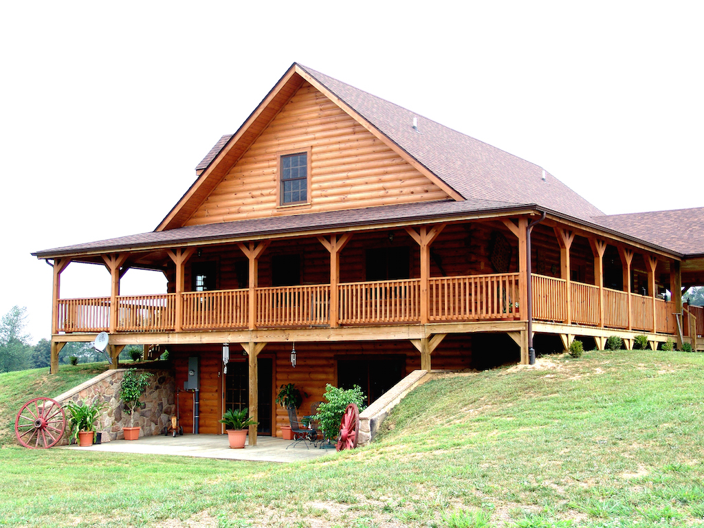 Gallery rocky k log homes for Log cabin with walkout basement